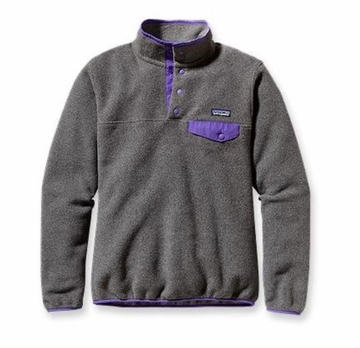 Patagonia Womens Synchilla Lightweight Snap-T Fleece Pullover Nickel w/ Violetti