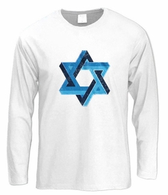 3D Star of David Long Sleeve T-Shirt