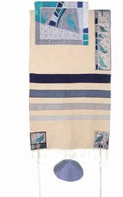 "Birds Tallit CAT# TSD- 1, 42"" X 73"""