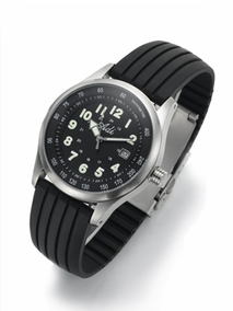 Black stainless steel gent's watch - 2356