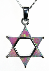 Blue Opal Magen David Necklace