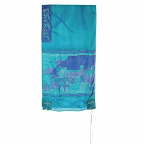 "Blue Silk Tallit CAT# TS- 4 turq, 21"" X 77"""