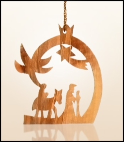 Christmas ornaments 2D hanging olivewood CHO-23