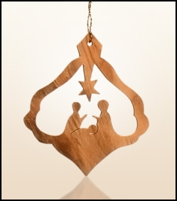 Christmas ornaments 2D hanging olivewood CHO-25