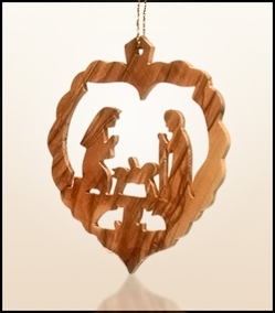 Christmas ornaments 2D hanging olivewood CHO-26