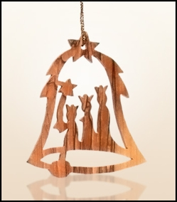 Christmas ornaments 2D hanging olivewood CHO-27