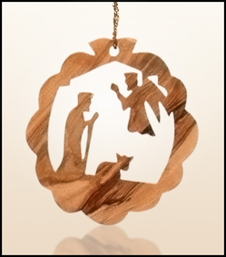 Christmas ornaments 2D hanging olivewood CHO-28