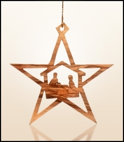 Christmas ornaments 2D hanging olivewood CHO-36