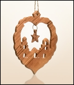 Christmas ornaments 2D hanging olivewood CHO-L3