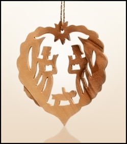 Christmas ornaments 2D hanging olivewood CHO-L4