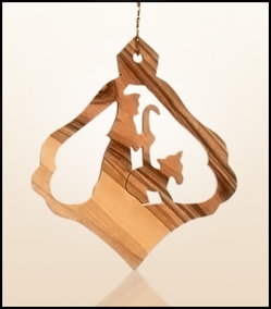 Christmas ornaments 2D hanging olivewood CHO-L5