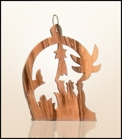 Christmas ornaments 2D hanging olivewood CHO-S08