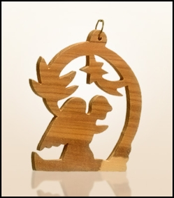 Christmas ornaments 2D hanging olivewood CHO-S10