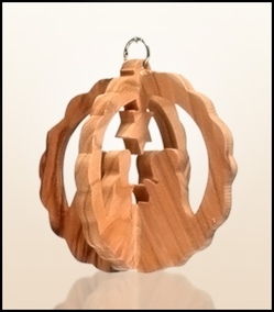 Christmas ornaments 3D hanging olivewood CHO-25XS