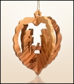 Christmas ornaments 3D hanging olivewood CHO-26X
