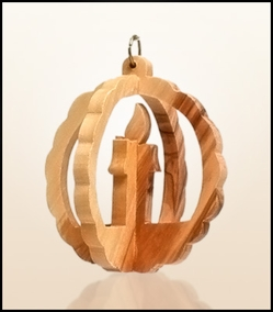 Christmas ornaments 3D hanging olivewood CHO-9XS