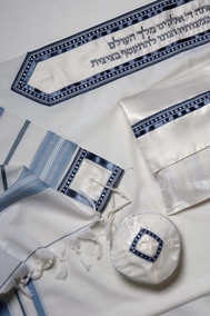 Classic Tallit light blue and gray
