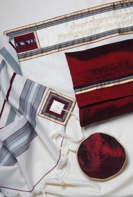 Classic Tallit - red and gray