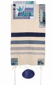 "Crown Raw Silk Appliqu?d Tallit CAT# TSD- 3, 42"" X 73"""