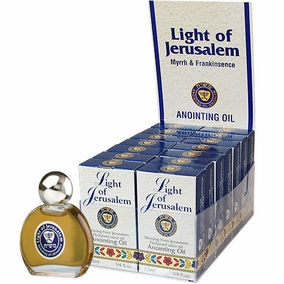 Display Case of 14 Light of Jerusalem Anointing Oils