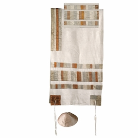"Gold Tallit Set CAT# TRA - 2, 21"" X 77"""