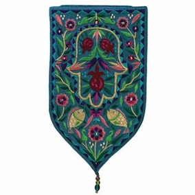 Hamsa Embroidered Small Wall Decoration - Turquoise CAT# WSA - 6T