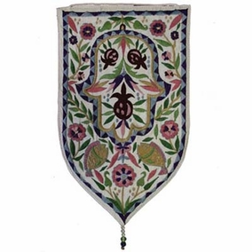 Hamsa Embroidered Small Wall Decoration - White CAT# WSA - 6W