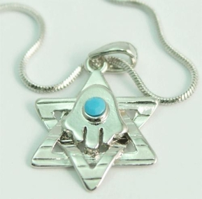 Hamsa & Star of David Necklace