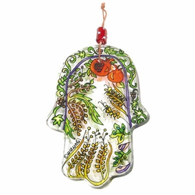 Hand painted glass Hamsa – Large (HG- 3) CAT# HG- 3