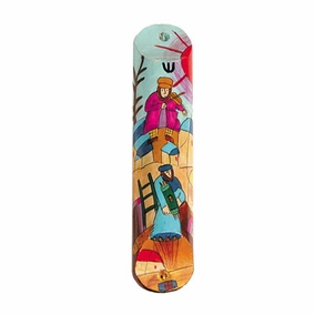 Hand Painted Wooden Mezuzah CAT# MZS- 10