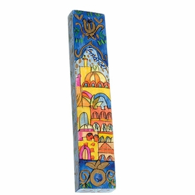 Hand Painted Wooden Mezuzah MZS-17 CAT# MZS - 17