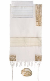 "Jerusalem in Gold Tallit CAT# THE- 3 , 20"" X 75"""