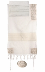 "Jerusalem in Silver Tallit  CAT# THE- 1, 50"" X 75"""