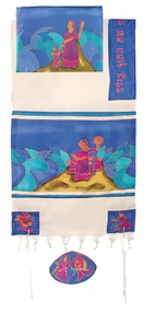 "Miriam and Debora Silk Tallit CAT# TWS- 5, 50"" X 77"""