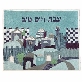 Naive Jerusalem - In Blue - Challah Cover CAT# CHE-12