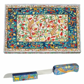 Oriental Challah Board & Challah Knife + Stand CAT# CB-3 + NS-3