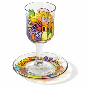 Painted Wineglass and Saucer CAT# GC- 1