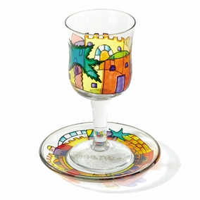 Painted Wineglass and Saucer CAT# GC- 2