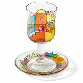 Painted Wineglass and Saucer CAT# GC- 3