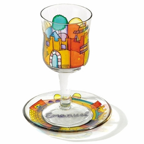 Painted Wineglass and Saucer CAT# GC- 5