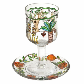 Painted Wineglass and Saucer CAT# GC- 7