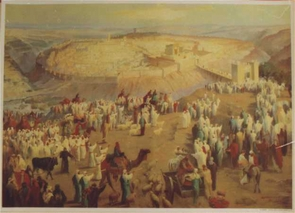 Pilgrims aproaching the holy temple of Jerusalem-Poster