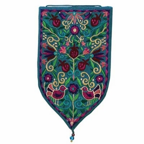 Pomegranates Embroidered Small Wall Decoration - Turquoise CAT# WSA - 5T