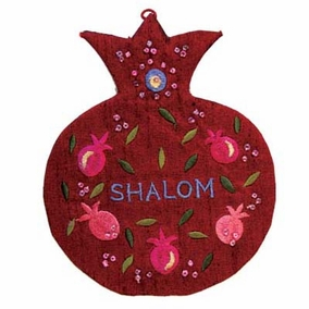 "Pomegranates Embroidered Wall Decoration - ""Shalom"" in English CAT# WSC - 4"