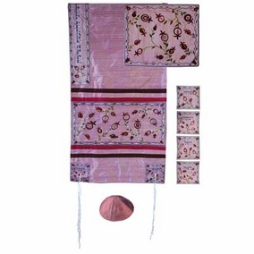 "Raw Silk Tallit Set CAT# TFA - 10, 34"" X 70"""