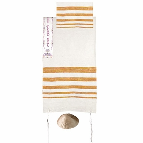 "Silk Tallit with Embroidered Atara CAT# TSW- 5, 42"" X 71"""