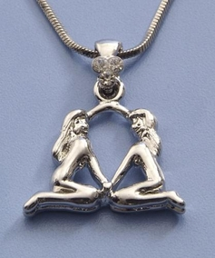 Silver Covered Gemini Necklace