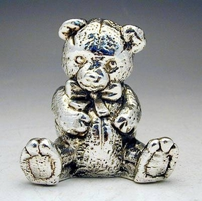 Silver Model Of A Sitting Teddy Bear