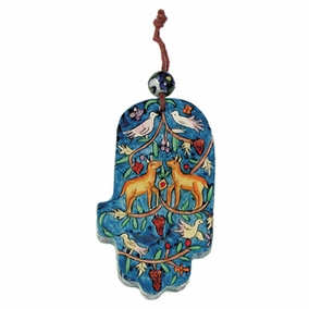 Small Wood Painted Hamsa (HAS- 1) CAT# HAS- 1