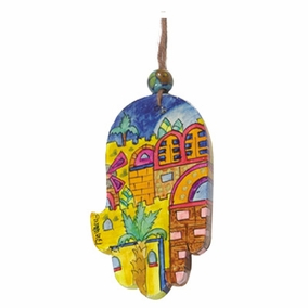 Small Wood Painted Hamsa (HAS- 11) CAT# HAS- 11